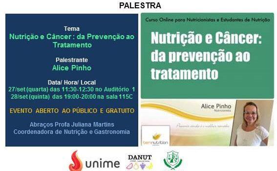 Nutrição e Câncer: Da prevenção ao Tratamento  – Evento aberto ao público e gratuito!